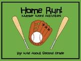 Number Word Activities- Baseball Theme