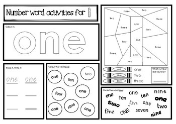 Number Word Activities - Numbers 1 to 10