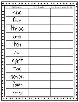 Number Word Assessment Freebie!