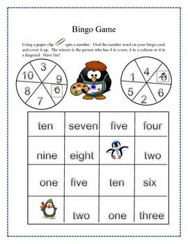 Number Word Bingo Game
