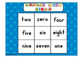 Number Word Bingo Game Cards zero to twenty