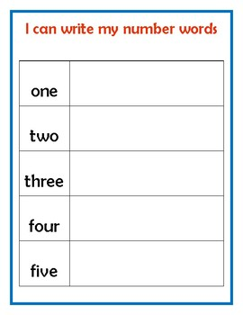 Number Word Boards