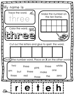 Number Word Bundle (4 Activities Included in this 35 Page Bundle)
