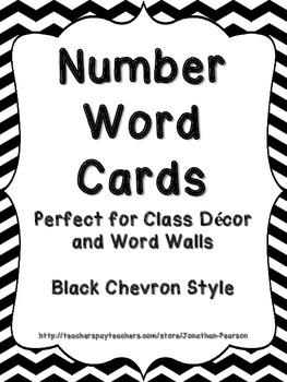 Number Word Cards - Black Chevron Style - Perfect for Clas