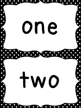 Number Word Cards - Black Polka Dot Style - Perfect for Decor and Word Walls