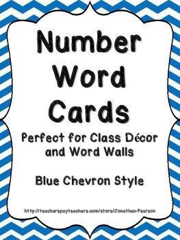 Number Word Cards - Blue Chevron Style - Perfect for Decor