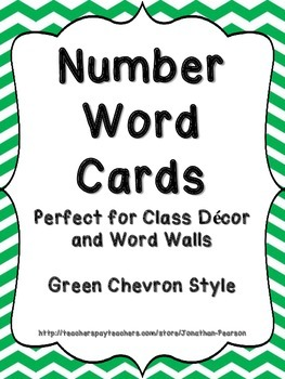 Number Word Cards - Green Chevron Style - Perfect for Class Decor or Word Walls