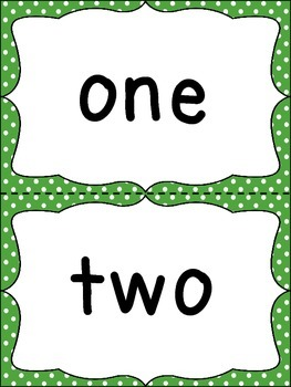 Number Word Cards - Green Polka Dots - Perfect for Decor and Word Walls