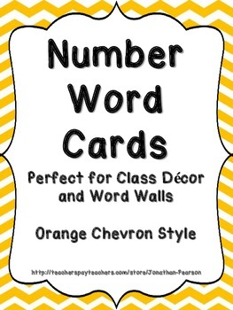Number Word Cards - Orange Chevron Style - Perfect for Class Decor or Word Walls