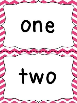 Number Word Cards - Pink Chevron Style - Perfect for Class Decor or Word Walls