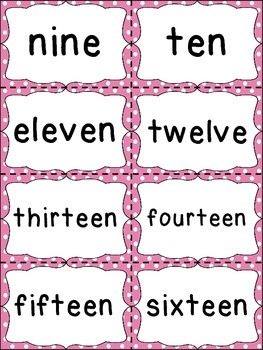 Number Word Cards - Pink Polka Dot Style - Perfect for Decor and Word Walls
