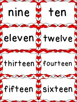 Number Word Cards - Red Chevron Style - Perfect for Class Decor or Word Walls