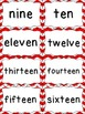 Number Word Cards - Red Chevron Style - Perfect for Class