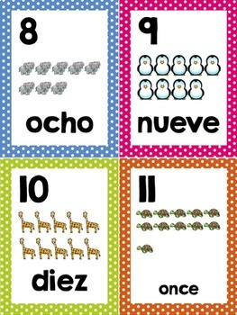 Number Word Cards Set 0-20 Spanish Edition