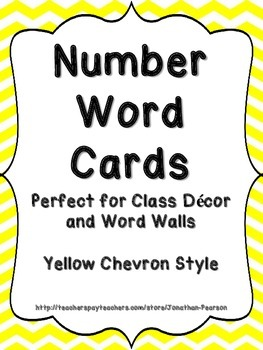 Number Word Cards - Yellow Chevron Style - Perfect for Class Decor or Word Walls