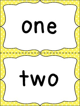 Number Word Cards - Yellow Polka Dot Style - Perfect for Decor and Word Walls