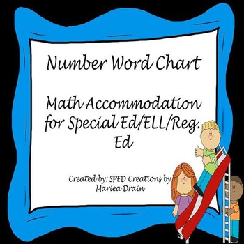 Number Word Chart -Math Accommodation For Regular/ELL/Special Needs Students