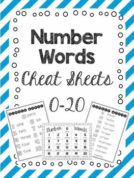 FREE Number Word Cheat Sheets 0-20