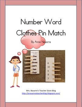 Number Word Clothes Pin Match