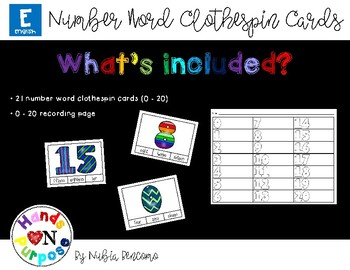 Number Word Clothespin Cards - English Version