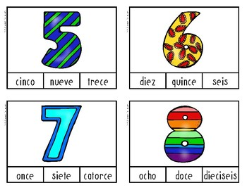 Number Word Clothespin Cards - Spanish Version