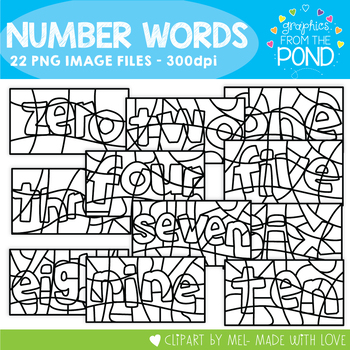 Number Word 'Color By' Clipart
