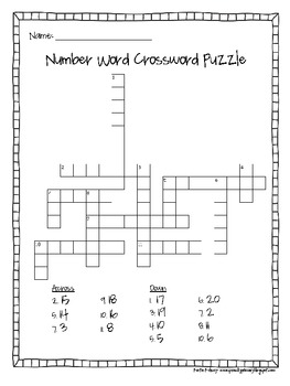 Number Word Crossword Puzzle