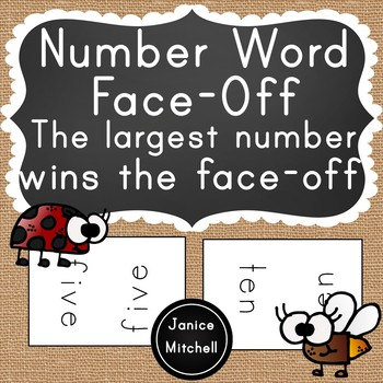 Number Word Face-Off Math Game-A Reading Number Words to 20 Game for K-3