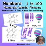Number Words and Pictures on Cards 1 - 100