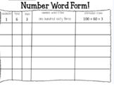 Number Word Form Game Sheet