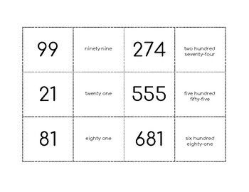Number Word Form Match Game