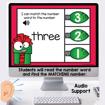 Number Word Match Christmas Boom Cards