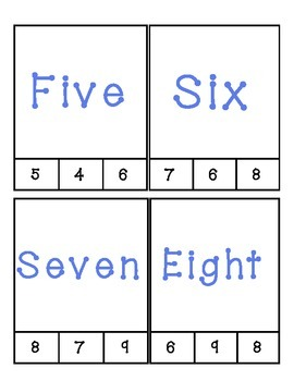Number Word Match Clip Cards #1-24