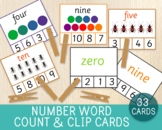 Number Word Match Clip Cards, 3 Different Sets, Counting C