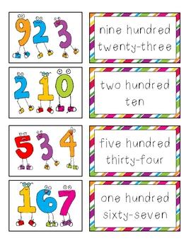 Number Word Match * Math Center * Pocket Chart Activity
