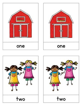 Number Word Matching Cards / Farm Theme / Montessori Style / Hands-on