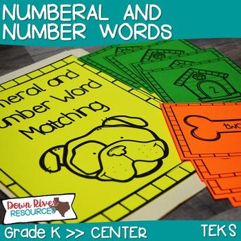 Number Word Matching Math Center for Kindergarten & First Grade