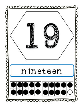 Number Word Posters 0-20 with Ten Frames in Color