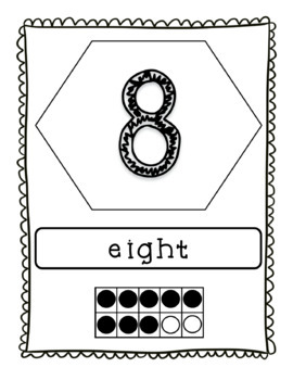 Number Word Posters 0-20 with Tens Frames in Black & White