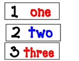 Number Words Posters-blue, red, and black