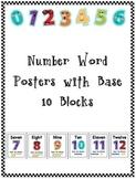 Number Word Posters w/ Base Ten Blocks