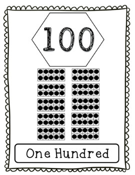 Number Word Posters with Multiples of 10 to 100 with Ten Frames in Black & White