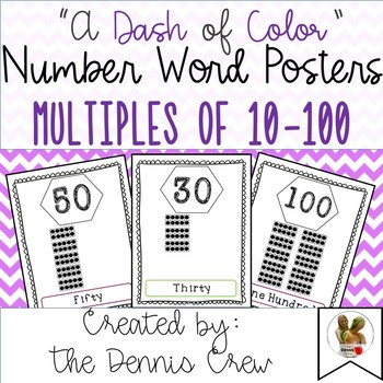 Number Word Posters with Multiples of 10 to 100 with Ten Frames in Color