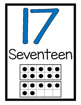Number Word Posters with Ten-Frame/Double Ten-Frame Representations (0-20)