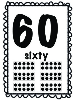 Number Word Posters with Tens Frame 0-20 and Multiples of 10 to 100