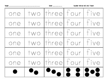Number Word Practice - Roll and Trace 1-5