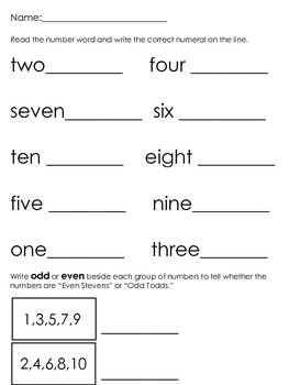Number Word Practice Sheets