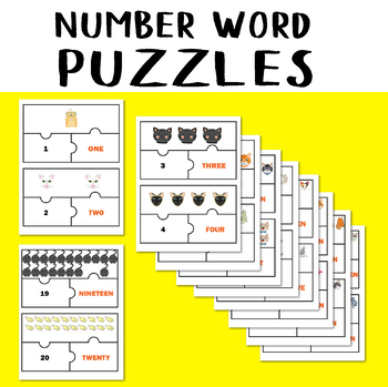 Number Word Puzzles Matching Game Cats Jigsaw Number 1-20 Counting Objects to 20