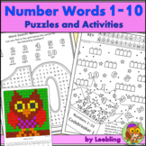 Number Word Puzzles, Activities and Mystery Picture - Numb