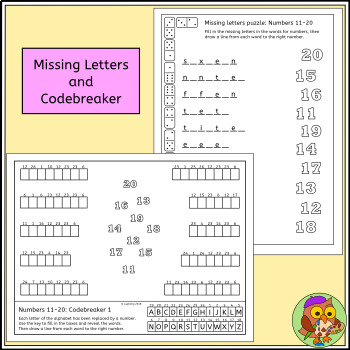 Number Puzzles and Activities, Numbers 11 to 20 - Elementary and EFL